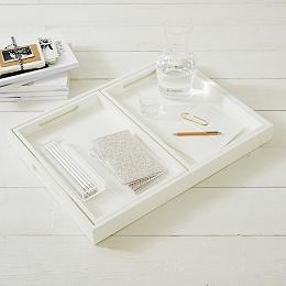 White Lacquer Trays - Set of 3
