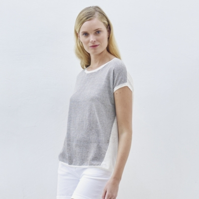 Linen Button Back Sweater - GrayWhite
