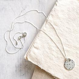 Labradorite Silver Disc Necklace