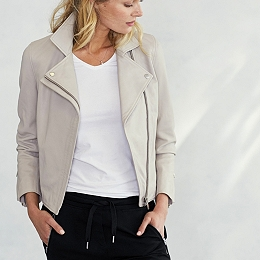 Leather Biker Jacket - Dove Grey