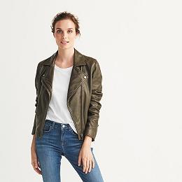 Leather Biker Jacket - Khaki
