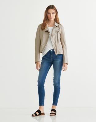 Leather Biker Jacket - Dove Gray