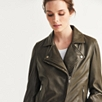 Leather Biker Jacket - Khaki
