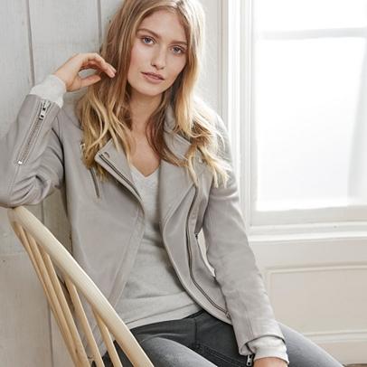 Leather Biker Jacket | Coats & Jackets | The White Company UK
