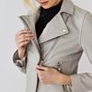 Leather Biker Jacket  - Silver