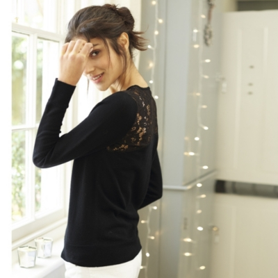 Lace Back Sweater