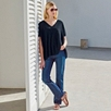 Linen Boxy Knitted Top  - Navy
