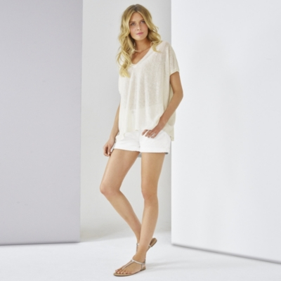 Linen Boxy Knitted Top  - White