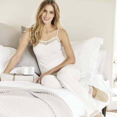 Lace Back Pajama Set - Winter White