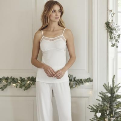 Lace Back Trim PJ Set - Winter White