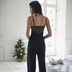 Lace Back Pajama Set - Black
