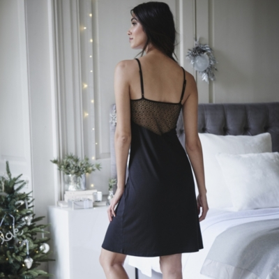 Lace Back Night Gown - Black