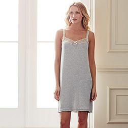 Lace and Bow Trim Nightie - Silver Grey Marl