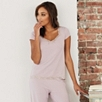 Lace Trim Pajama Top - Powder Pink