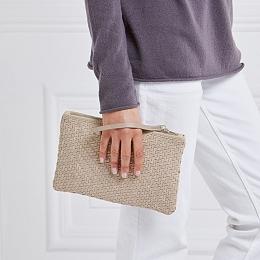 Leather Interwoven Clutch Bag