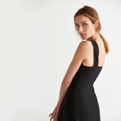 Linen Blend A Line Dress