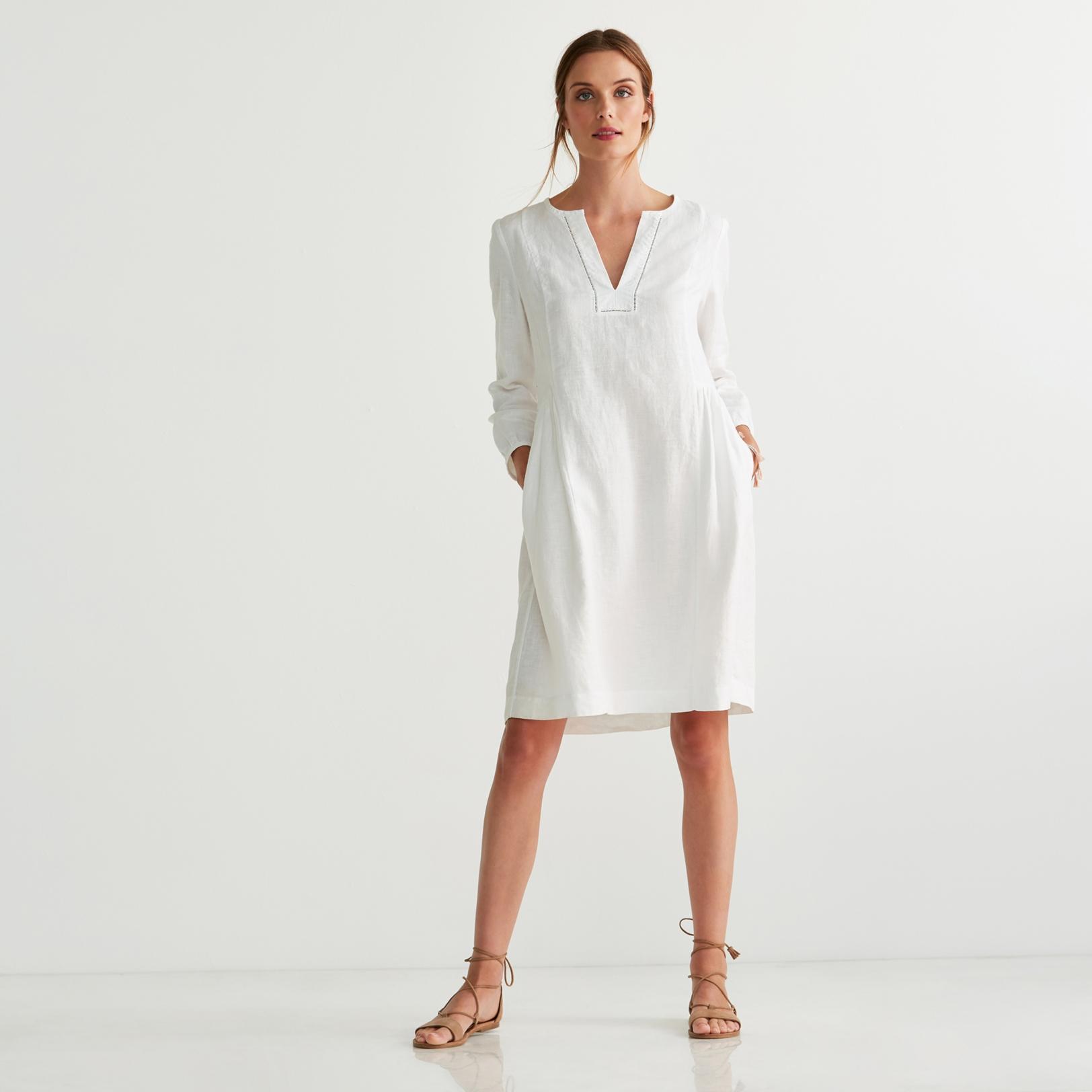 Linen Gathered Dress | Dresses & Tunics | The White Company UK
