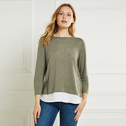 Linen Woven Hem T-Shirt - Sage