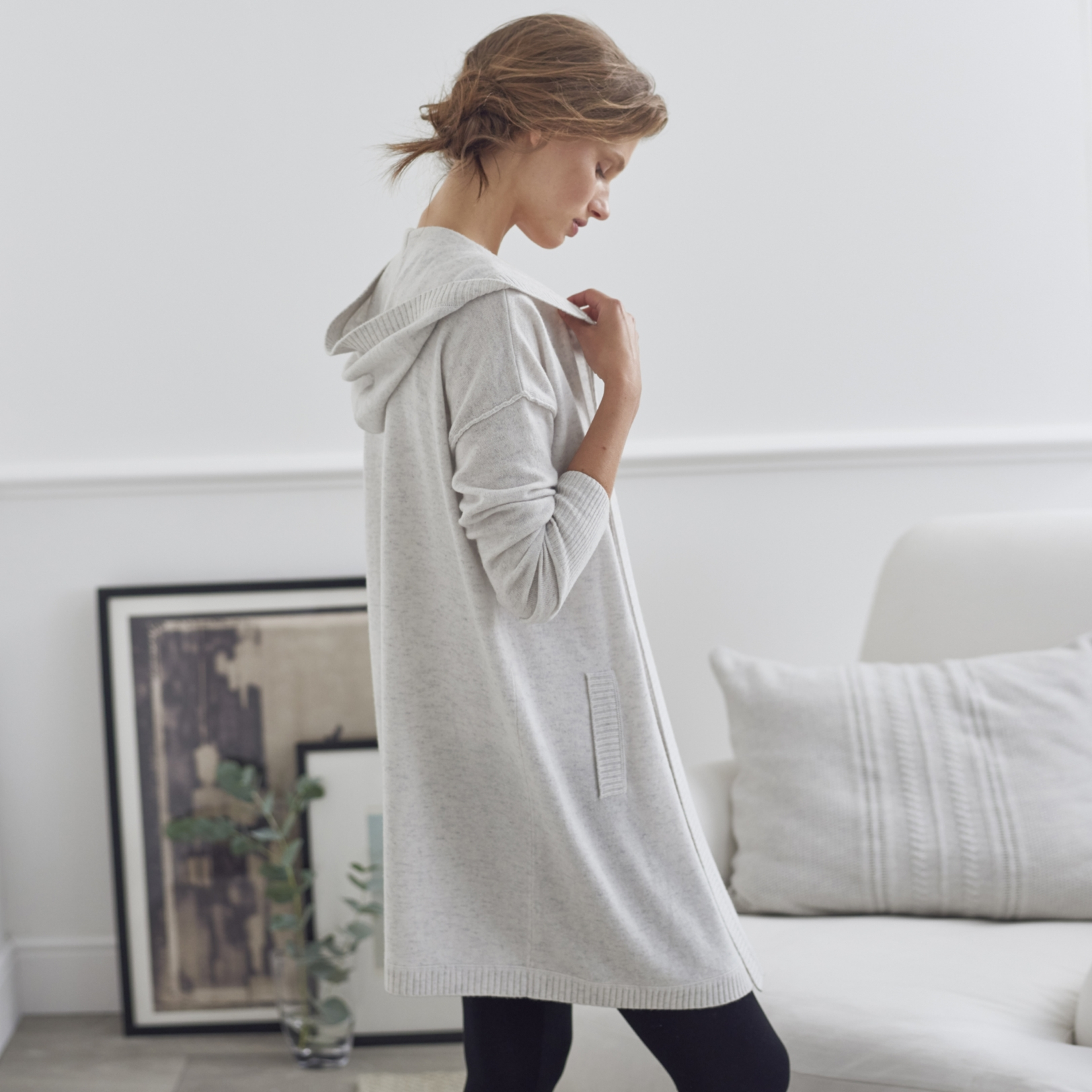 Cashmere Blend Long Hooded Cardigan | Clothing | The White Company UK