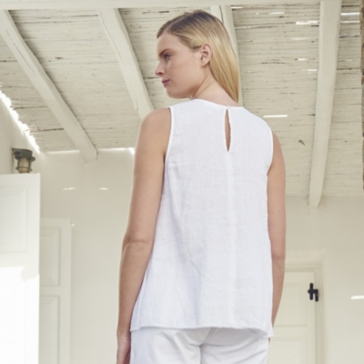 Linen Sleeveless V-Neck Top