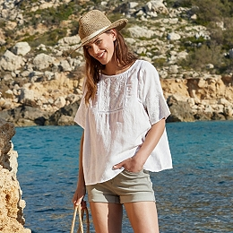 Linen Embroidered T-Shirt
