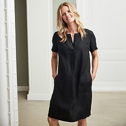 Linen Collarless Shirt Dress