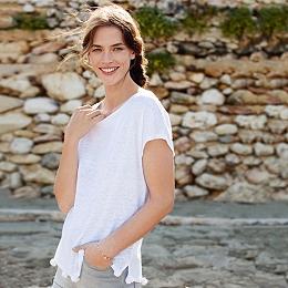 Linen Pom-Pom Detail T-Shirt - White