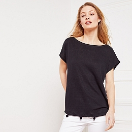 Linen Pom-Pom Detail T-Shirt - Black