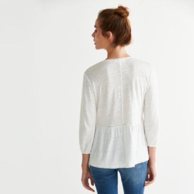 Linen Lace Insert Peasant Top