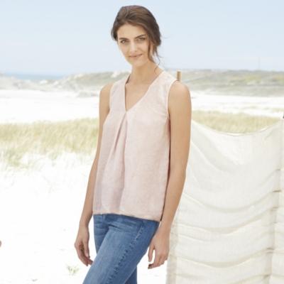 Linen Sleeveless V-Neck Top - Rose