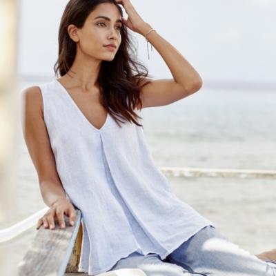 Linen Sleeveless V-Neck Top - Pale Blue