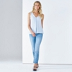 Linen Sleeveless V-Neck Top - Pale Blue