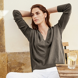 Linen-Rich V-Neck Sweater