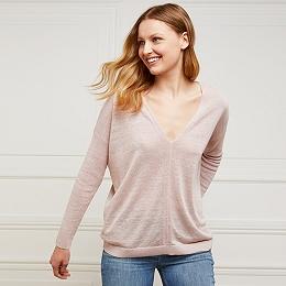 Linen-Rich V-Neck Sweater - Dusky Pink