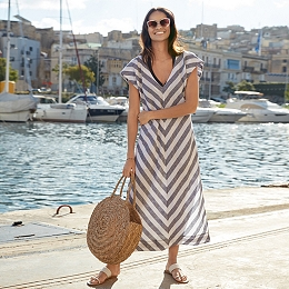 Linen V-Neck Chevron Midi Dress