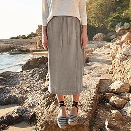 Linen Wrap Skirt - Khaki