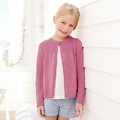 Girls' Cotton Linen Rib Cardigan - Rose