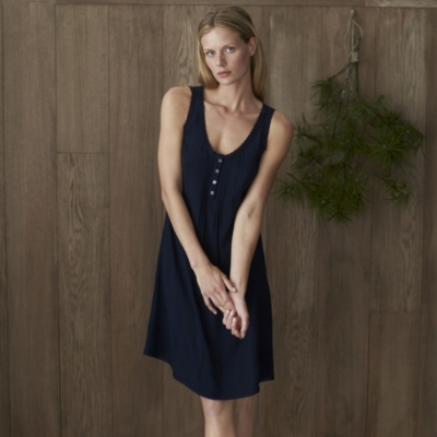 Lace Trim Viscose Jacquard Night Gown - Navy