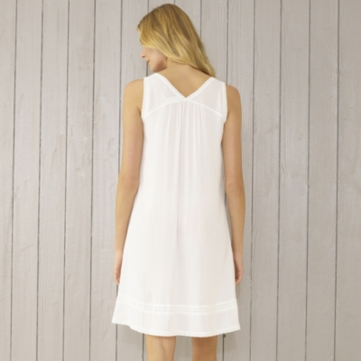 Lace Trim Viscose Jacquard Night Gown - White