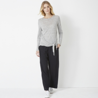 Linen Jersey Tie Side T-shirt