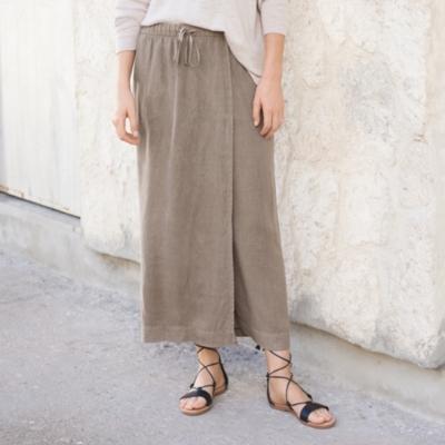 Linen Wrap Midi Skirt