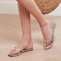 Leather Metallic Flip Flops