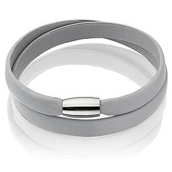 Leather Magnetic Bracelet - Grey