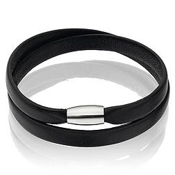 Leather Magnetic Bracelet - Black