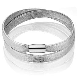 Leather Magnetic Bracelet - Silver