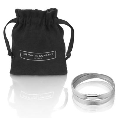 Leather Magnetic Bracelets - Silver