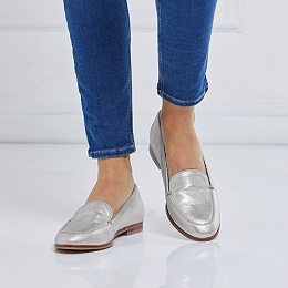 Leather Metallic Loafers