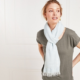 Block Stripe Scarf with Linen