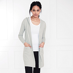 Long Hooded Cardigan - Silver Grey Marl