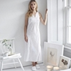 Pleated Lace Trim Bodice Long Nightgown